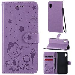 Embossing Bee and Cat Leather Wallet Case for Samsung Galaxy A10e - Purple