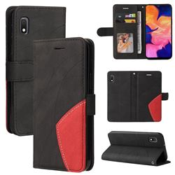 Luxury Two-color Stitching Leather Wallet Case Cover for Samsung Galaxy A10e - Black