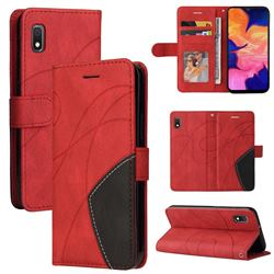 Luxury Two-color Stitching Leather Wallet Case Cover for Samsung Galaxy A10e - Red