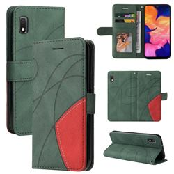 Luxury Two-color Stitching Leather Wallet Case Cover for Samsung Galaxy A10e - Green