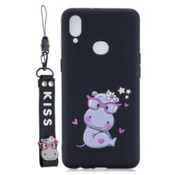 Black Flower Hippo Soft Kiss Candy Hand Strap Silicone Case for Samsung Galaxy A10s