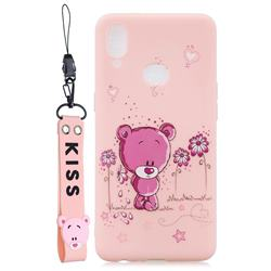 Pink Flower Bear Soft Kiss Candy Hand Strap Silicone Case for Samsung Galaxy A10s