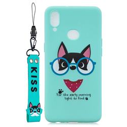Green Glasses Dog Soft Kiss Candy Hand Strap Silicone Case for Samsung Galaxy A10s