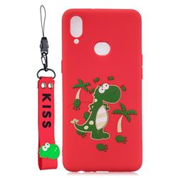 Red Dinosaur Soft Kiss Candy Hand Strap Silicone Case for Samsung Galaxy A10s