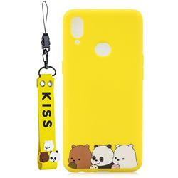 Yellow Bear Family Soft Kiss Candy Hand Strap Silicone Case for Samsung Galaxy A10s