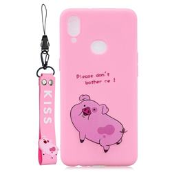 Pink Cute Pig Soft Kiss Candy Hand Strap Silicone Case for Samsung Galaxy A10s