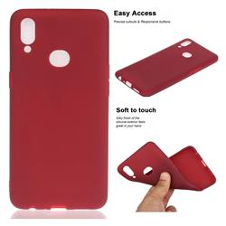 Soft Matte Silicone Phone Cover for Samsung Galaxy A10s - Wine Red