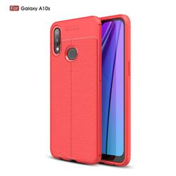 Luxury Auto Focus Litchi Texture Silicone TPU Back Cover for Samsung Galaxy A10s - Red