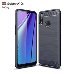 Luxury Carbon Fiber Brushed Wire Drawing Silicone TPU Back Cover for Samsung Galaxy A10s - Navy