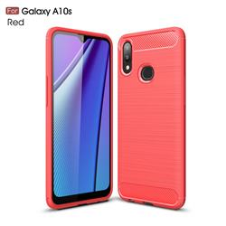 Luxury Carbon Fiber Brushed Wire Drawing Silicone TPU Back Cover for Samsung Galaxy A10s - Red