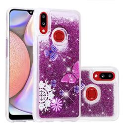 Purple Flower Butterfly Dynamic Liquid Glitter Quicksand Soft TPU Case for Samsung Galaxy A10s