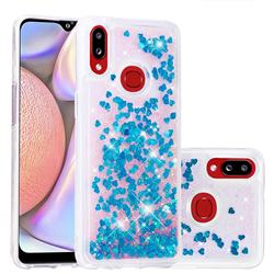 Dynamic Liquid Glitter Quicksand Sequins TPU Phone Case for Samsung Galaxy A10s - Blue