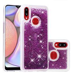 Dynamic Liquid Glitter Quicksand Sequins TPU Phone Case for Samsung Galaxy A10s - Purple