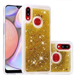 Dynamic Liquid Glitter Quicksand Sequins TPU Phone Case for Samsung Galaxy A10s - Golden