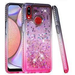 Diamond Frame Liquid Glitter Quicksand Sequins Phone Case for Samsung Galaxy A10s - Gray Pink