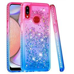 Diamond Frame Liquid Glitter Quicksand Sequins Phone Case for Samsung Galaxy A10s - Pink Blue