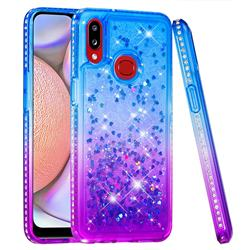 Diamond Frame Liquid Glitter Quicksand Sequins Phone Case for Samsung Galaxy A10s - Blue Purple