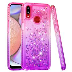 Diamond Frame Liquid Glitter Quicksand Sequins Phone Case for Samsung Galaxy A10s - Pink Purple