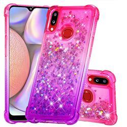 Rainbow Gradient Liquid Glitter Quicksand Sequins Phone Case for Samsung Galaxy A10s - Pink Purple