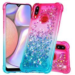 Rainbow Gradient Liquid Glitter Quicksand Sequins Phone Case for Samsung Galaxy A10s - Pink Blue