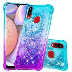 Rainbow Gradient Liquid Glitter Quicksand Sequins Phone Case for Samsung Galaxy A10s - Blue Purple