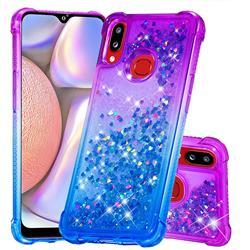 Rainbow Gradient Liquid Glitter Quicksand Sequins Phone Case for Samsung Galaxy A10s - Purple Blue