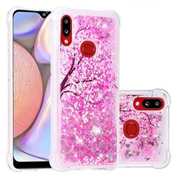 Pink Cherry Blossom Dynamic Liquid Glitter Sand Quicksand Star TPU Case for Samsung Galaxy A10s