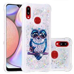 Sweet Gray Owl Dynamic Liquid Glitter Sand Quicksand Star TPU Case for Samsung Galaxy A10s