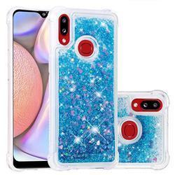 Dynamic Liquid Glitter Sand Quicksand TPU Case for Samsung Galaxy A10s - Blue Love Heart