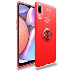 Auto Focus Invisible Ring Holder Soft Phone Case for Samsung Galaxy A10s - Red