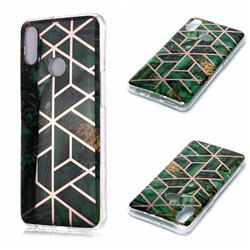 Green Rhombus Galvanized Rose Gold Marble Phone Back Cover for Samsung Galaxy A10s
