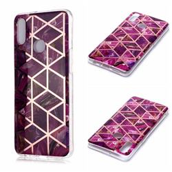 Purple Rhombus Galvanized Rose Gold Marble Phone Back Cover for Samsung Galaxy A10s