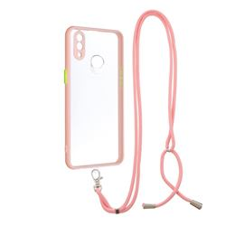 Necklace Cross-body Lanyard Strap Cord Phone Case Cover for Samsung Galaxy A10s - Pink