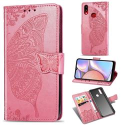 Embossing Mandala Flower Butterfly Leather Wallet Case for Samsung Galaxy A10s - Pink