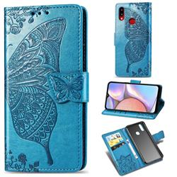 Embossing Mandala Flower Butterfly Leather Wallet Case for Samsung Galaxy A10s - Blue