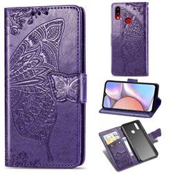 Embossing Mandala Flower Butterfly Leather Wallet Case for Samsung Galaxy A10s - Dark Purple
