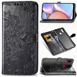 Embossing Imprint Mandala Flower Leather Wallet Case for Samsung Galaxy A10s - Black