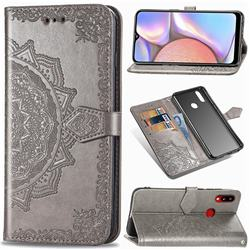 Embossing Imprint Mandala Flower Leather Wallet Case for Samsung Galaxy A10s - Gray
