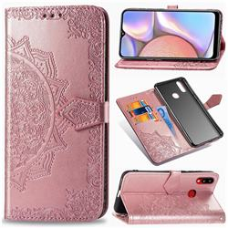 Embossing Imprint Mandala Flower Leather Wallet Case for Samsung Galaxy A10s - Rose Gold
