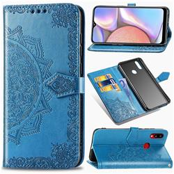 Embossing Imprint Mandala Flower Leather Wallet Case for Samsung Galaxy A10s - Blue