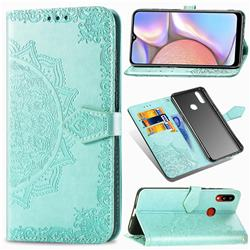 Embossing Imprint Mandala Flower Leather Wallet Case for Samsung Galaxy A10s - Green