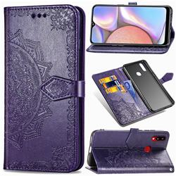 Embossing Imprint Mandala Flower Leather Wallet Case for Samsung Galaxy A10s - Purple