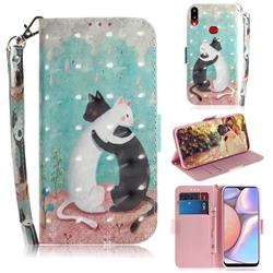 Black and White Cat 3D Painted Leather Wallet Phone Case for Samsung Galaxy A10s