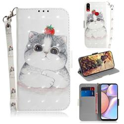 Cute Tomato Cat 3D Painted Leather Wallet Phone Case for Samsung Galaxy A10s