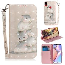 Three Squirrels 3D Painted Leather Wallet Phone Case for Samsung Galaxy A10s