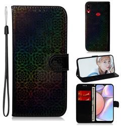 Laser Circle Shining Leather Wallet Phone Case for Samsung Galaxy A10s - Black