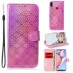 Laser Circle Shining Leather Wallet Phone Case for Samsung Galaxy A10s - Pink