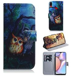 Oil Painting Owl PU Leather Wallet Case for Samsung Galaxy A10s