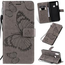 Embossing 3D Butterfly Leather Wallet Case for Samsung Galaxy A10s - Gray
