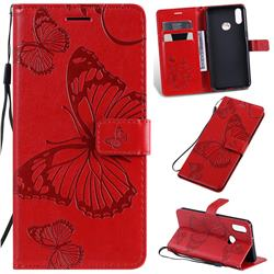Embossing 3D Butterfly Leather Wallet Case for Samsung Galaxy A10s - Red